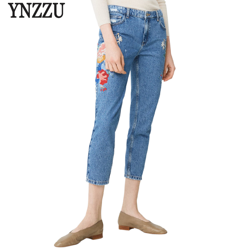 YNZZU 2017 New Elegant Flower Embroidery Women Jeans Blue Casual Pants Spring Summer Pockets Straight Jeans Women Bottom YB081 flower embroidery jeans female blue casual pants capris 2017 spring summer pockets straight jeans women bottom a46