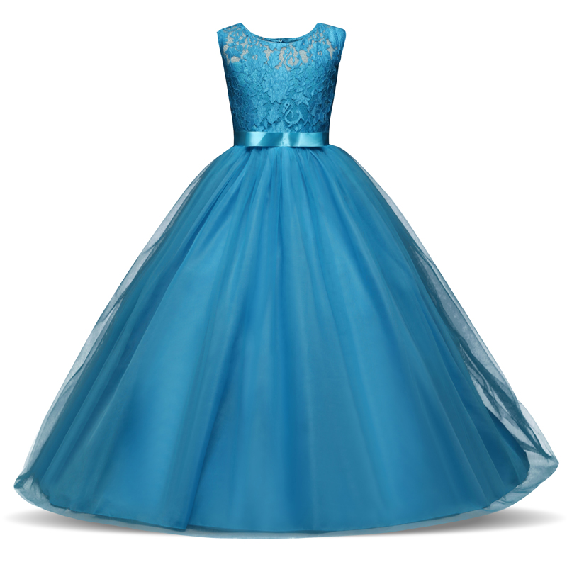 HTB1WW7Vd21G3KVjSZFkq6yK4XXam New Princess Lace Dress Kids Flower Embroidery Dress For Girls Vintage Children Dresses For Wedding Party Formal Ball Gown 14T