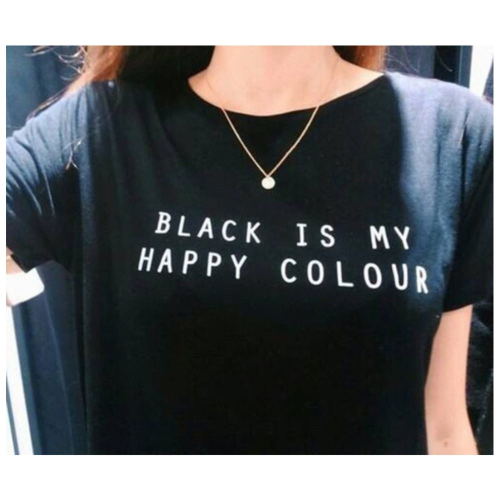 buy black is my happy color letter women men unisex black o neck cotton t. Black Bedroom Furniture Sets. Home Design Ideas