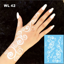 #WL-42 Unique Curved Bubble Design White Henna Temporary Tattoo Hand Decoration Sticker For Daily Makeup Or Bridal Decor