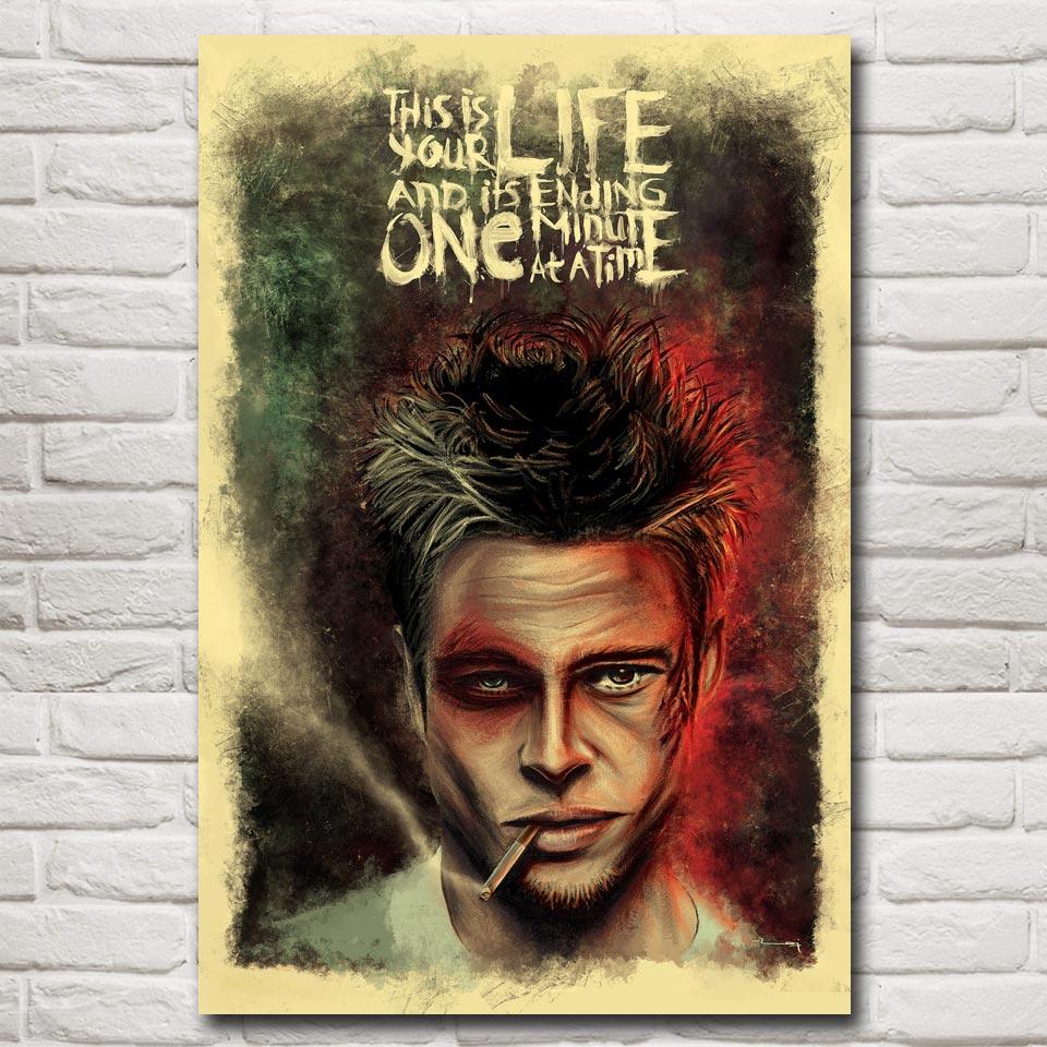 19K Fight Club Brad Pitt Classic Movie  Silk Cloth Art Poster Decor