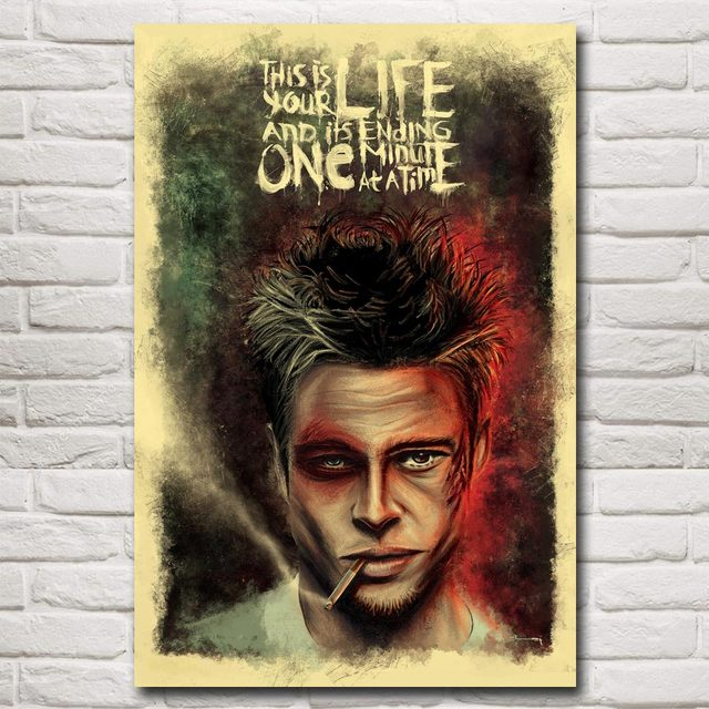 Classic Movie Fight Club Film Art Silk Poster Brad Pitt Edward Home Decor Pictures 12×18 16X24 24×36 32×48 Inch Free Shipping