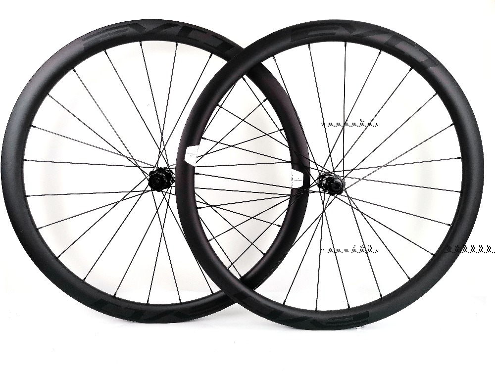 EVO 38mm depth road bike disc brake carbon wheels 25 width Tubeless cyclocross carbon wheelset with