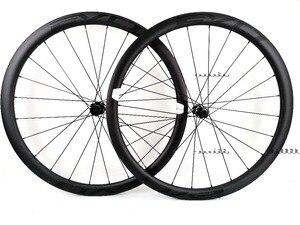 Image 1 - EVO 38mm derinlik yol bisiklet fren diski karbon tekerlekler 25 genişlik Tubeless cyclocross karbon tekerlekler et merkezi kilit disk fren hub