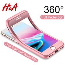 H & 360 מלא כיסוי טלפון מקרה עבור iPhone 8 6 6s 7 בתוספת 5 5S SE רך סיליקון מגן כיסוי עבור iPhone 8 בתוספת מקרה עם זכוכית