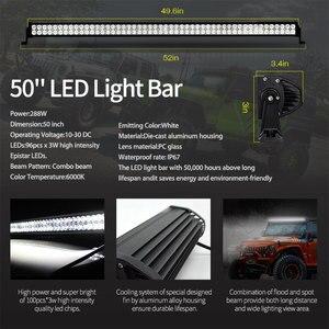 Image 2 - 50 inch 288W Offroad LED Work Licht Bar kit + Montieren + Wireless Remote Controller + Schrauben + Isolator für JEEP Wrangler YJ 1987 1995