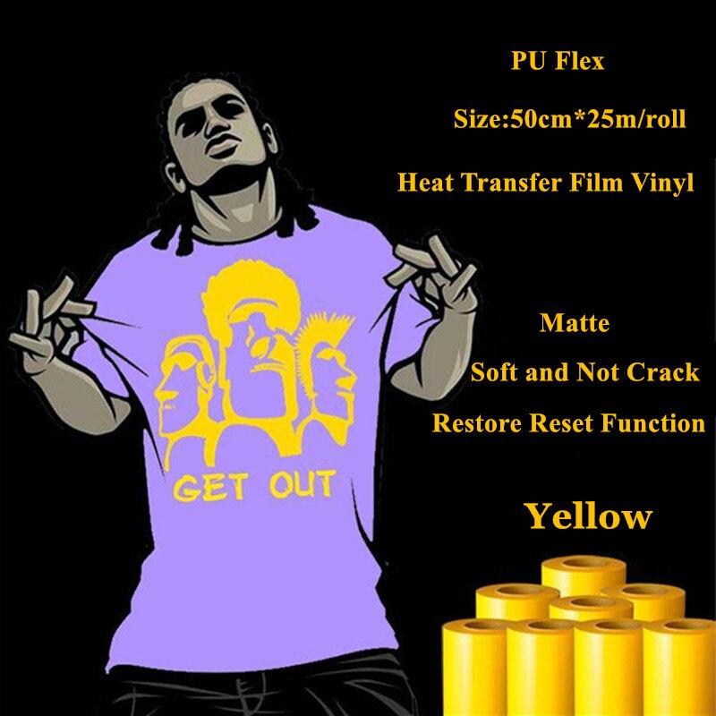 ПУ flex теплообмена винил для Джерси матовая желтый Цвет thermel нажмите пленка для футболка теплообмена виниловые пленки 50 см * 25 м/roll