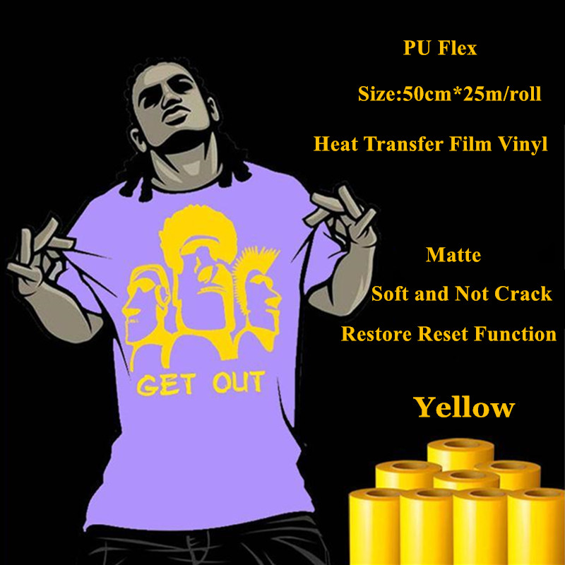 PU Flex heat transfer vinyl for Jersey Matte Yellow Color thermel press film for t shirt heat transfer film vinyl 50cm*25m/roll one yard 51cmx100cm glitter heat transfer vinyl film heat press cut by cutting plotter diy t shirt 40 colors for choosing