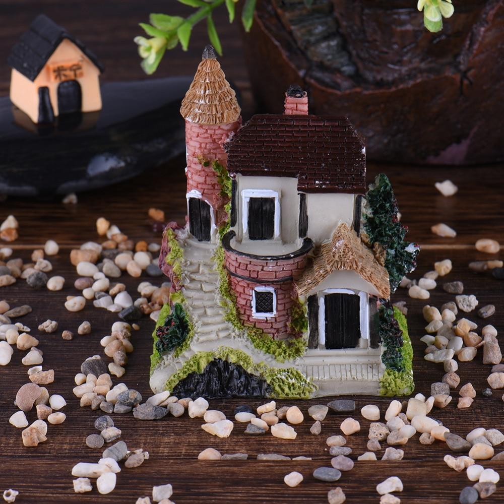 Cute Mini Resin House Miniature House Fairy Garden Micro Landscape Home Garden Decoration Resin