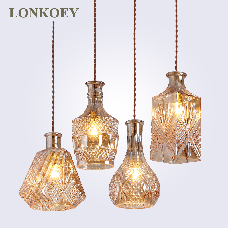 Modern Minimalist Vintage Wine Bottle Pendant Lights CafeRoom/Bar Lamp Single Glass Pendant Lamps Decoration Indoor Lighting E27