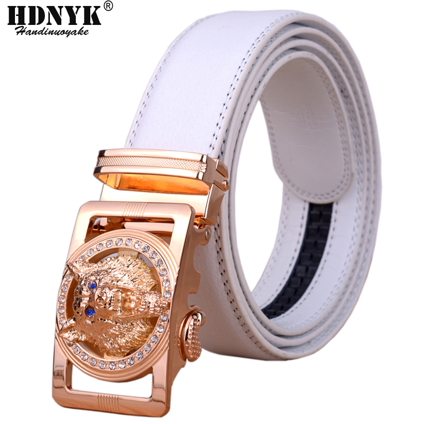 2018 Hot New Brand Designer Belts Men High Quality Automatic Belt Men Leather Girdle Casual Waist Strap With Wolf Heah Buckle