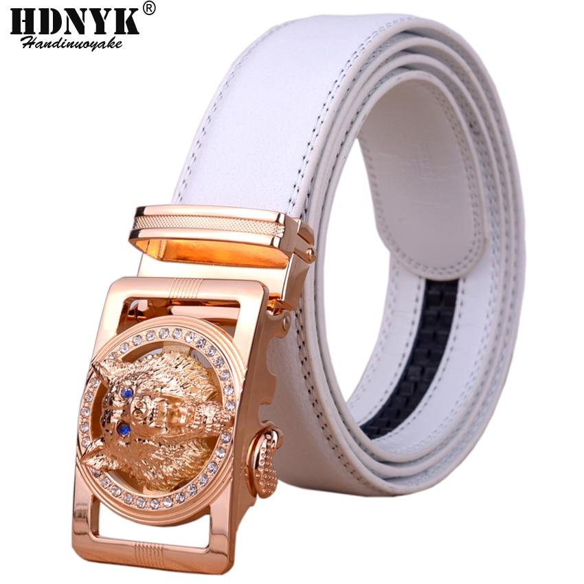 2018 Hot New Brand Designer Cinturones Hombres Cinturón Automático de Alta Calidad para Hombre Cinturón de Cintura Casual Con Lobo Heah Hebilla