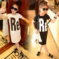 Teenage Girls Cotton Long T-shirts 2016 Kids Dress Summer New Girls Jersey Dress Children Girls T-shirt Dresses White Black