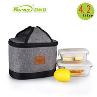 KinNet Lunch Bags For Women Kids Thermal Bag Simple Fashion Grey Black Stitching Waterproof Aluminum Foil