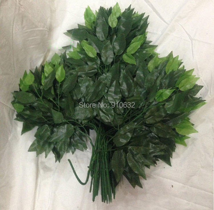 60pcs 55cm Length Green Banyan Tree Leaf Leaves Branch Silk Artificial For Wedding Home Office Decoration