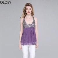 Solid 100% Silk U neck Women Camis Female Sexy Tassel Sling Open Back Rivet Vest Purple Black Blue 3 Colour Tank Top