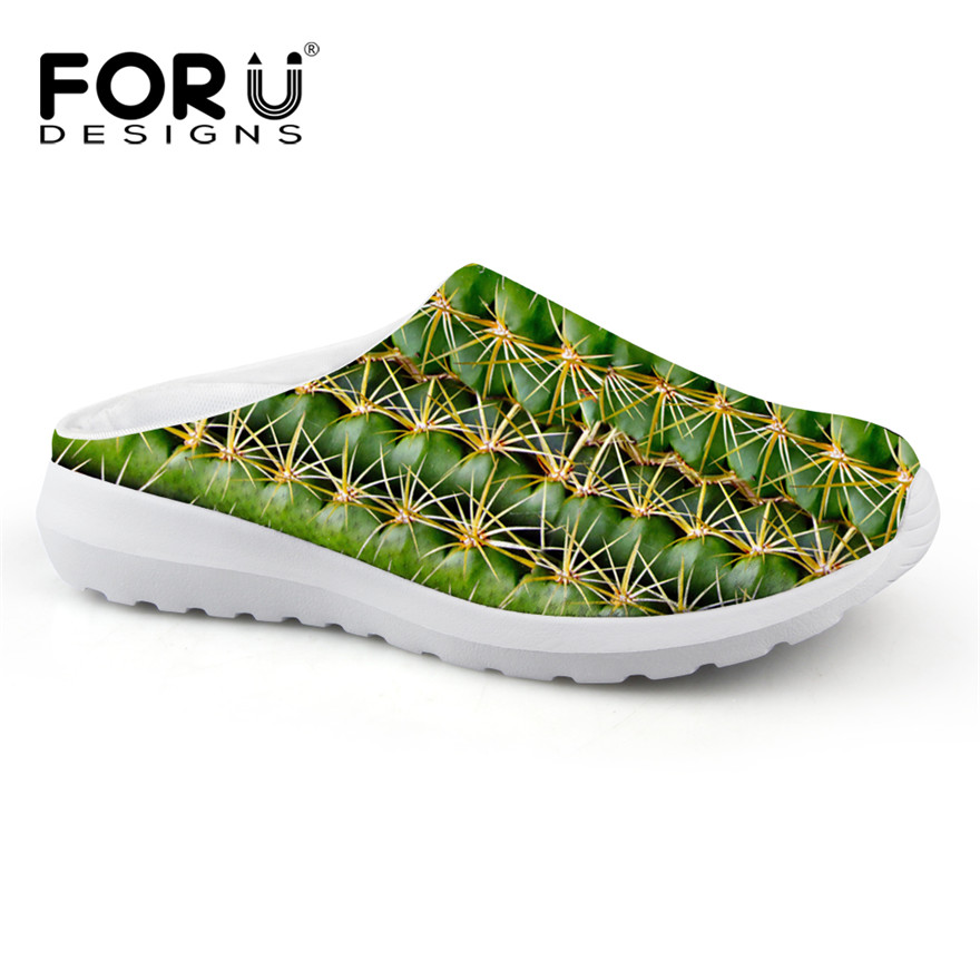 Forudesigns Mens Casual Mesh Sandals MenS Slippers 3D Green Plants Printed Brea