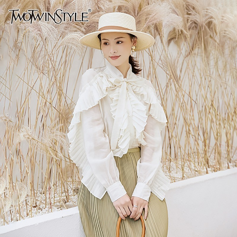 TWOTWINSTYLE Casual Solid Blouse For Women Bowknot Long Sleeve Ruffles Big Size Shirt Female Fashion Clothes 2020 Summer New