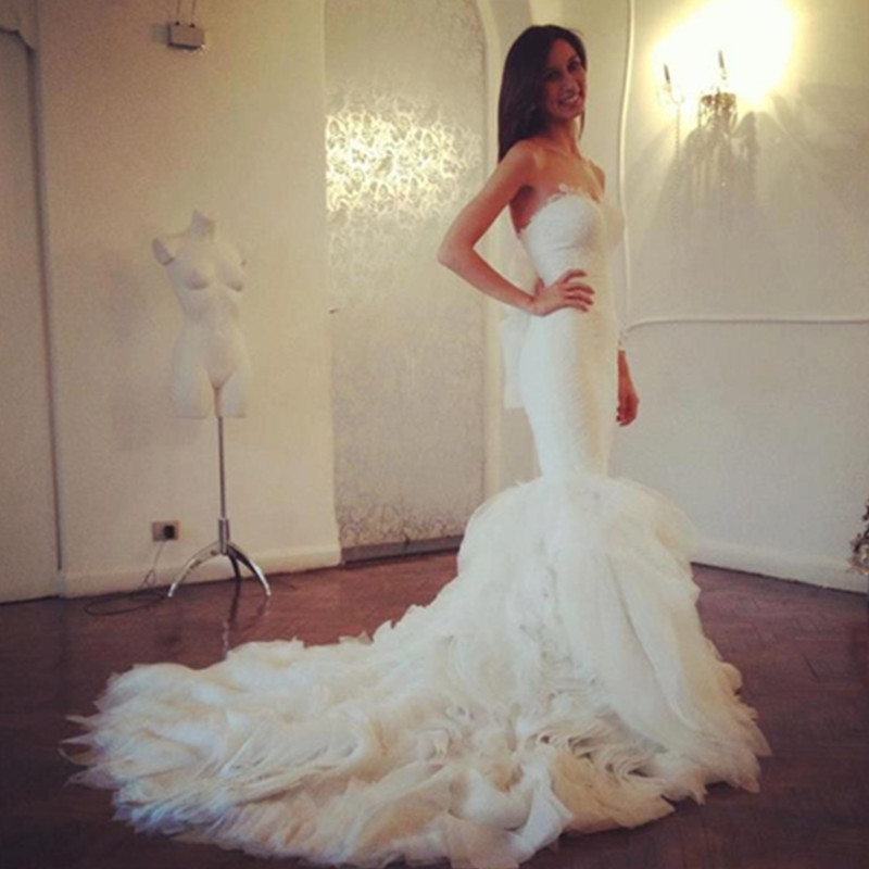 Robe De Mariage Lace Fabric Sweetheart Mermaid Wedding Dress Long Tail Latest Designs Vestidos Noiva 2017 New Coming In Dresses From Weddings