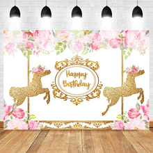 Mehofoto Sweet Carousel Birthday Backdrop Pink Floral Gold Photography Background Party Backdrops for Children Kid