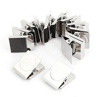 Доступный 12 шт. 3 см квадратный пружинный холодильник магнитная стена Memo бумага Примечание клип (серебро)