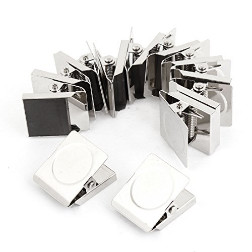 Affordable 12 Pcs 3cm Square Spring Loaded Refrigerator Magnetic Wall Memo Paper Note Clip(Silver) 3cm huge