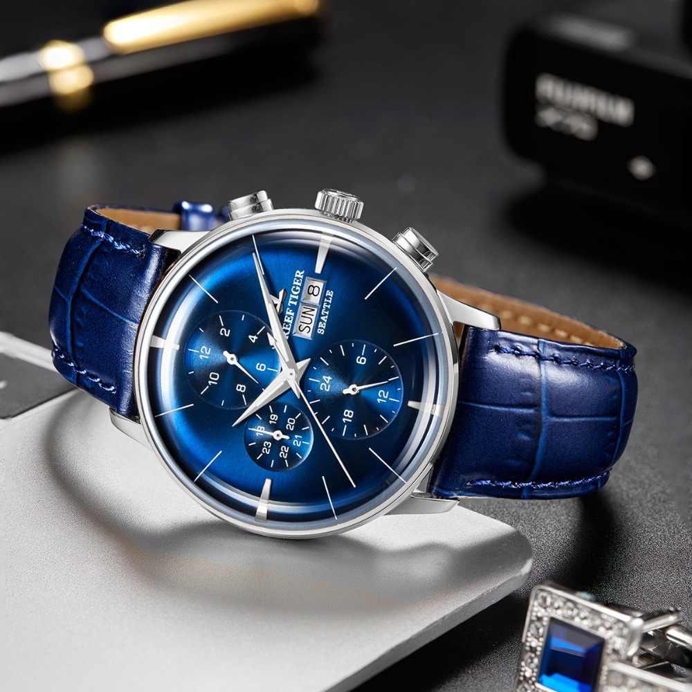 שונית נמר חדש 2019 למעלה יוקרה שעון Mens הכחול חיוג רב פונקצית גברים אוטומטי מכאני שעוני יד Relogio Masculino RGA1699