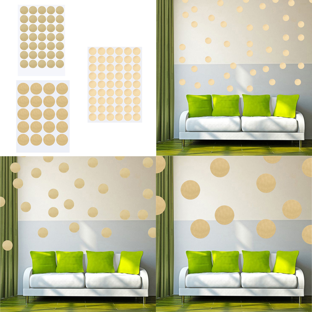 Gold polka dots wall sticker baby nursery stickers kids for How to make polka dots on wall
