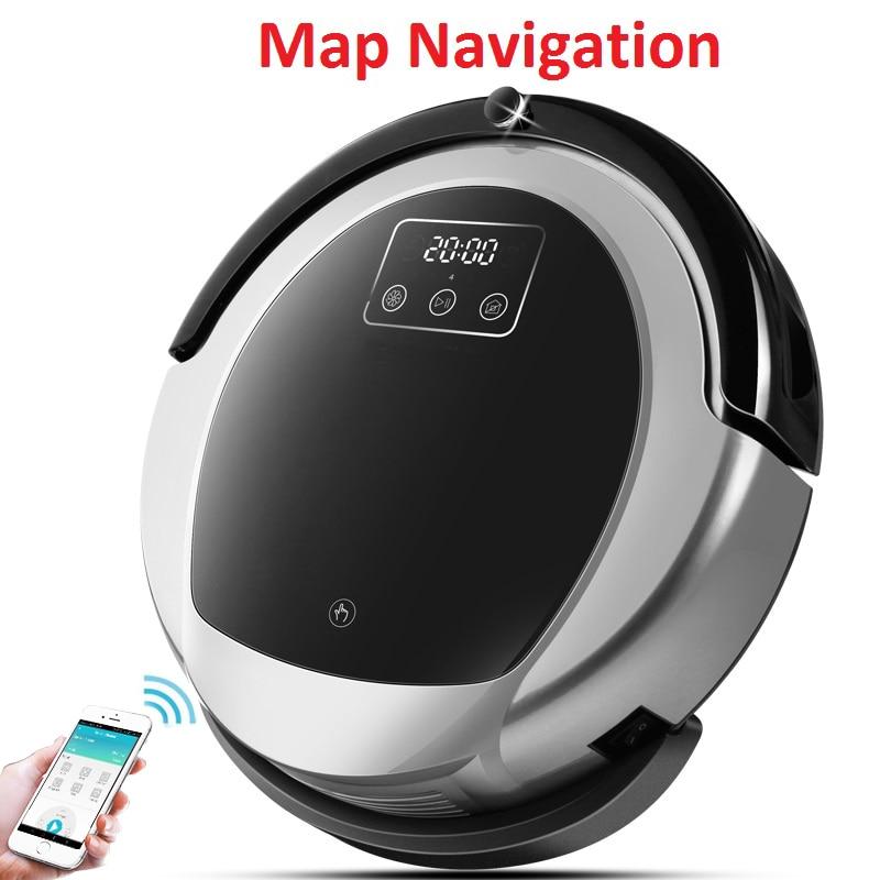 WiFi App Control Intelligent Robotic Vacuum Cleaner B6009 2D Map Gyroscope Navigation Memory Virtual Blocker UV