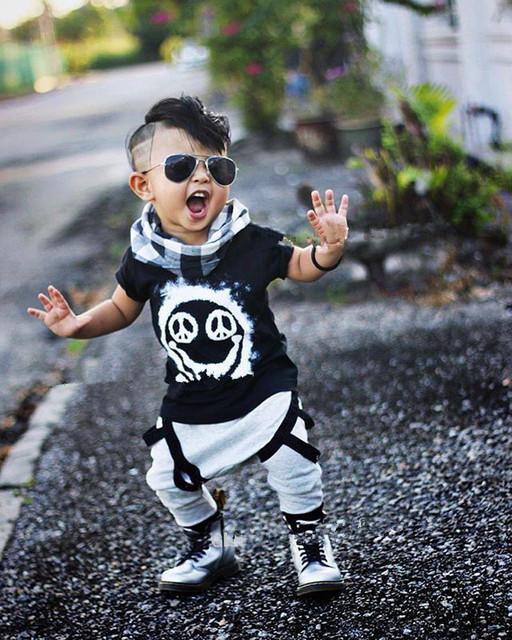 2017 de calidad Superior camiseta de los muchachos niños 2-5 años niños ropa de manga larga de algodón cráneo ropa deportiva camiseta del cráneo impresión de los niños