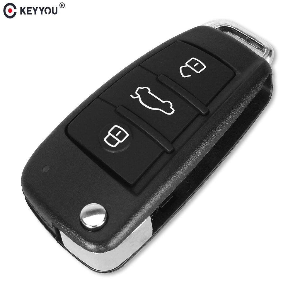 KEYYOU Shell-Case Replacement Remote-Car-Key Flip 3-Button-Case Folding AUDI No-Blade