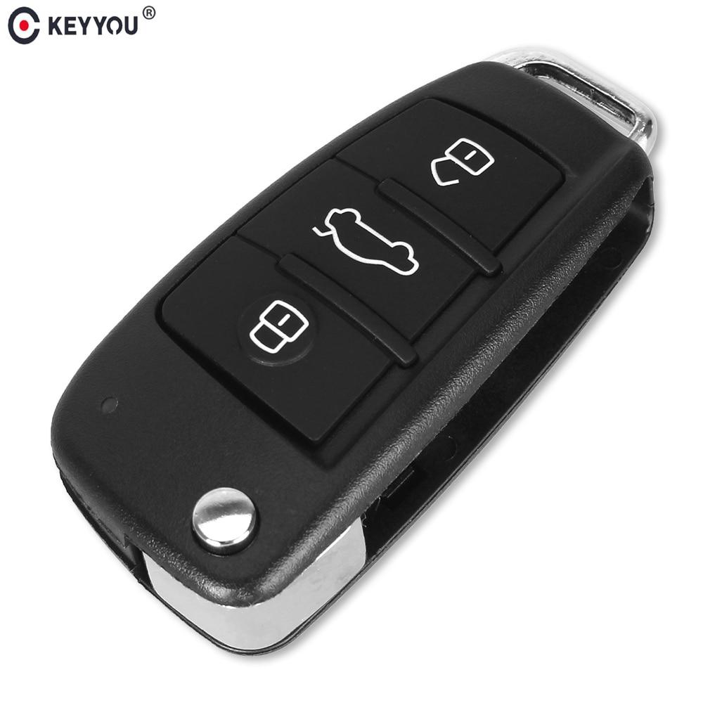 KEYYOU Replacement Folding Flip Remote Car Key Shell Case 3 Button Case For AUDI No Blade