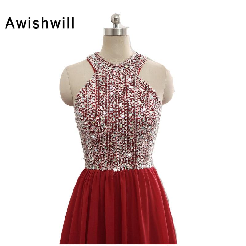 Nouveauté robe de soirée bordeaux sans manches perles brillantes en mousseline de soie robe d'occasion spéciale longues robes de bal robe de noël - 5