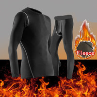 NEW Thermal Underwear Set Fleece Clothing Compression Tshirts and Pants Long Johns Warm Body Autumn Winter Fitness Suits Wear