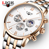 Top Brand LIGE Mens Watches Moon Phase Steel Men Watch Reloj Hombre Fashion Waterproof Quartz Sports