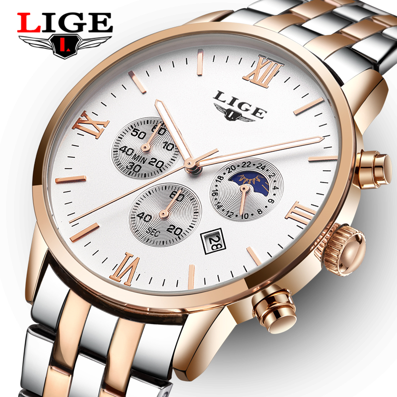 Top Brand LIGE Mens Watches Moon Phase Steel Men Watch Reloj Hombre Fashion waterproof Quartz Sports Watches Relogio Masculino wrist switzerland automatic mechanical men watch waterproof mens watches top brand luxury sapphire military reloj hombre b6036