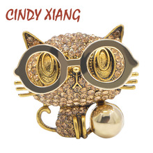 CINDY XIANG New Arrival Wear Glasses Cat Brooches for Women Cute Animal Jewelry Backpack Badges Rhinestone Kitty Pin 2 Colors