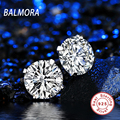 BALMORA 4 Colors 100% Real 925 Sterling Silver Jewelry Simulated Diamond Stud Earrings for Women Ladies Party Gifts JE120230