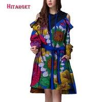Autumn african dresses for women Dashiki Women long Sleeveless Ashiki Women Dress with belt Cotton African Print Clothing WY951