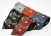 Fuerjia 2017 Takım/5 adet Çin Rüzgar son patlama kravat ipek 100% erkek kravat 10 cm panda baskılı geniş kravat toptan