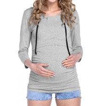 Telotuny autumn Women Pregnant Maternity Nursing T-Shirts Breastfeeding clothing for pregnant women Short Sleeve Shirt oct 8