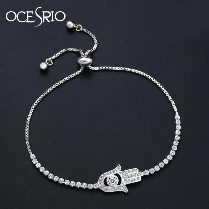 OCESRIO 2019 Paved Zircon Hamsa Bracelet Silver Charm Bracelet Hand of Fatima Adjustable Bracelet Women Fashion Jewelry brt-k45