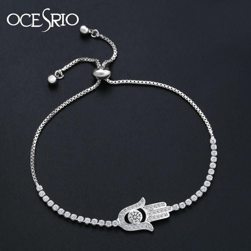 1d8467ac2972 OCESRIO pavimentado de Hamsa pulsera de plata encanto pulsera mano de  Fátima ajustable pulsera de joyería de moda de las mujeres brt-k45 -  www.salleram.ga