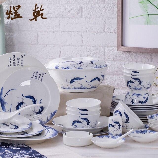 Yuqian Chinesischen Stil Geschirr 56 Stucke Klassische Fisch 45