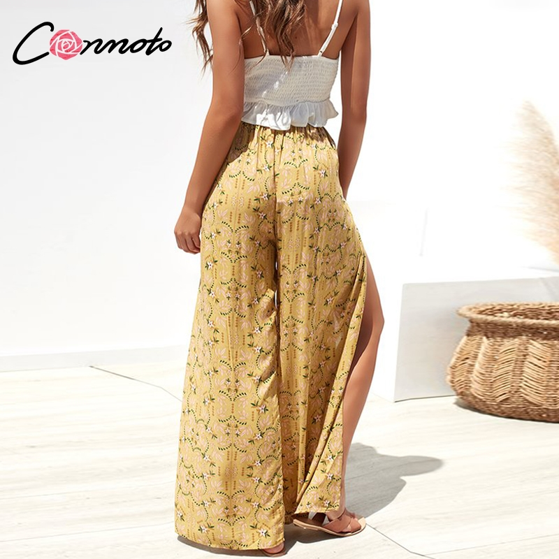 Conmoto Casual High Waist Wide Leg Pants Women 19 Summer Beach Split Trousers Female Holiday Vintage Floral Prints Capris 6