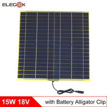 Elegeek 18 В 15 Вт Солнечный Панель поликристаллического кремния солнечных батарей Панель Зарядное устройство с крокодил для DIY солнечной система