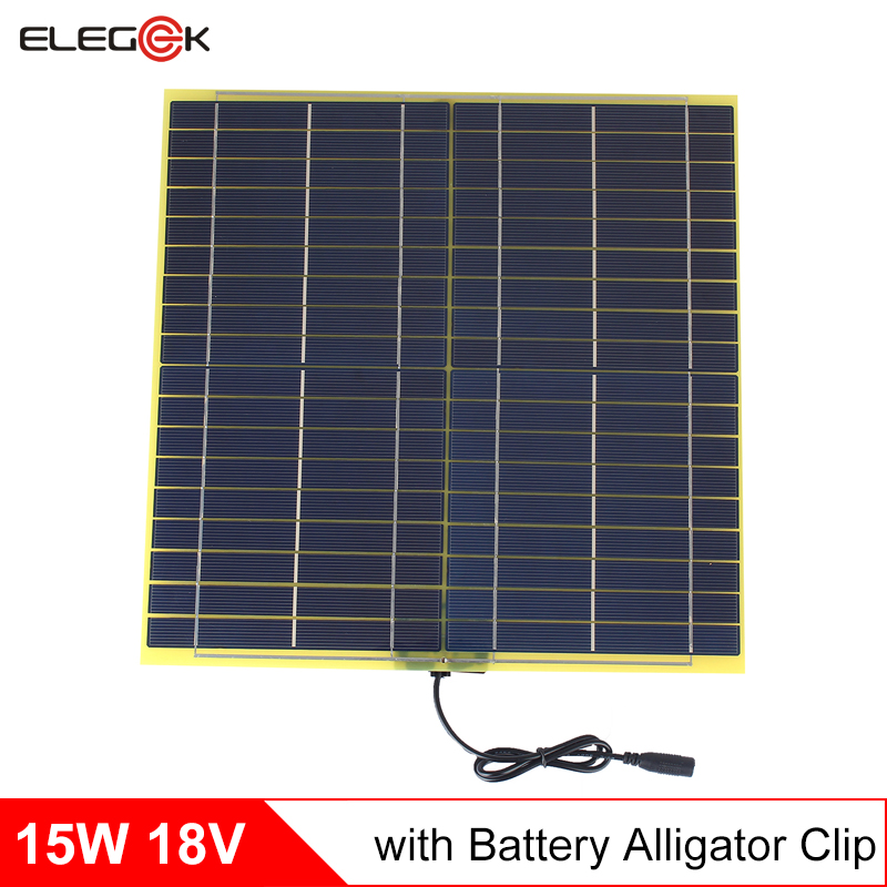 ELEGEEK 18V 15W Solar Panel Polycrystalline Silicon Solar Cell Solar Panel Charger with Crocodile Clip for DIY Solar System