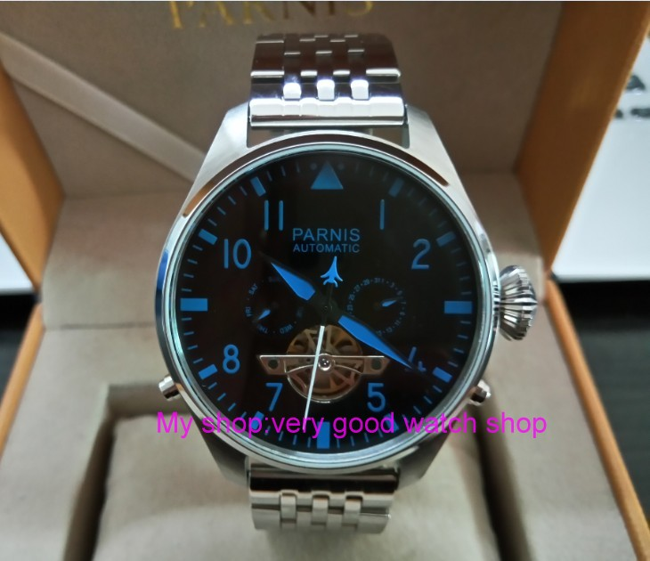 47mm big dial PARNIS Asian st25 Automatic mechanical movement men watches Auto Date & Auto week Mechanical watches 63a
