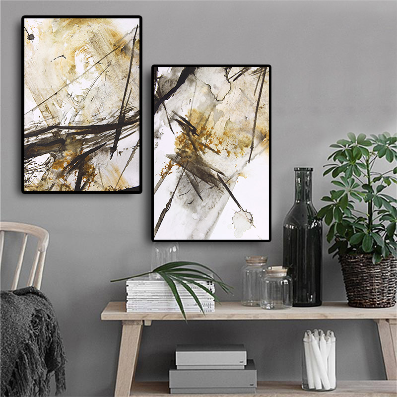 Abstract Yellow Black and White Oil painting on Canvas Art Posters and Prints Nordic Style Wall Picture for Living Room Decor