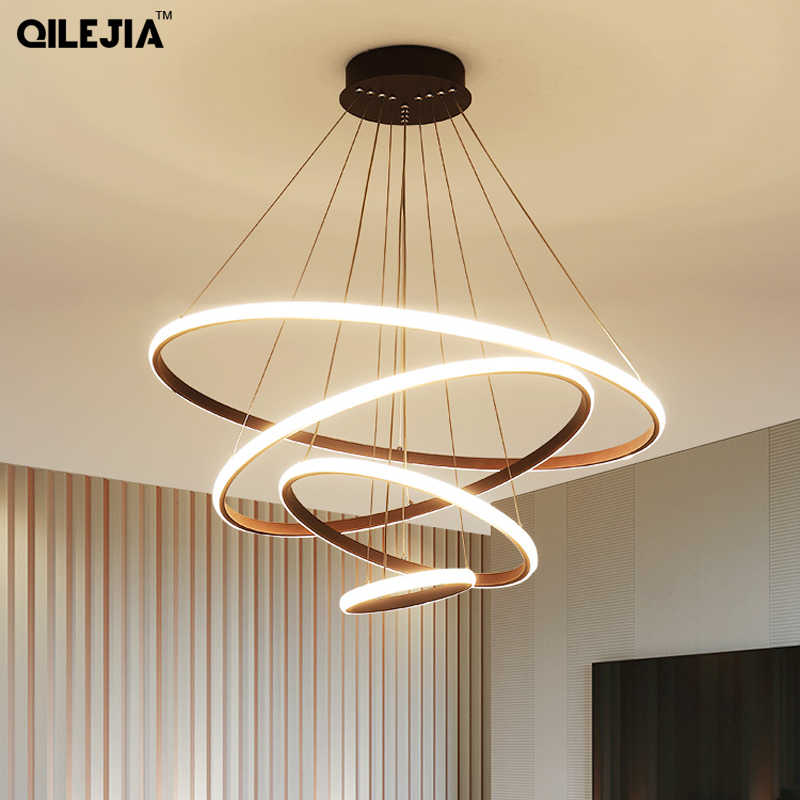 Modern Led Chandelier Ring Lustre Lighting With Remote Control Aluminum Lamps For Dinning Room Bedroom Restaurant lustre cristal